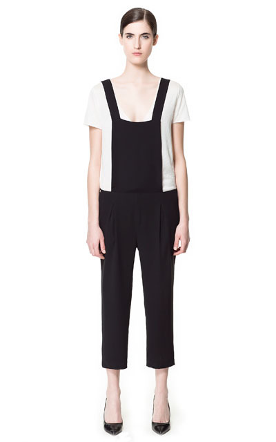 Jumpsuit With Braces At The Back - sleeve style: capped; fit: loose; predominant colour: black; occasions: casual, evening; length: ankle length; fibres: polyester/polyamide - 100%; sleeve length: short sleeve; texture group: structured shiny - satin/tafetta/silk etc.; style: jumpsuit; neckline: low square neck; pattern type: fabric; pattern size: standard; pattern: colourblock; season: s/s 2013