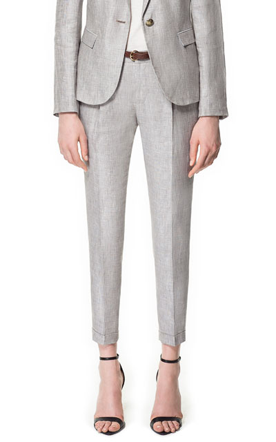 Linen Marl Trousers - pattern: plain; pocket detail: small back pockets, pockets at the sides; style: peg leg; waist detail: belted waist/tie at waist/drawstring; waist: mid/regular rise; predominant colour: light grey; occasions: casual, work; length: ankle length; fibres: linen - 100%; jeans & bottoms detail: turn ups; texture group: linen; fit: tapered; pattern type: fabric; season: s/s 2013; pattern size: standard (bottom)
