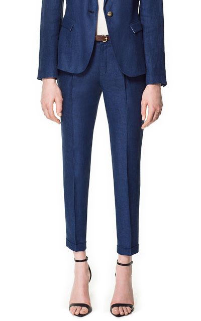 Linen Marl Trousers - pattern: plain; style: peg leg; waist detail: belted waist/tie at waist/drawstring; waist: mid/regular rise; predominant colour: navy; occasions: casual, work; length: ankle length; fibres: linen - 100%; hip detail: front pleats at hip level; jeans & bottoms detail: turn ups; texture group: linen; fit: tapered; pattern type: fabric; season: s/s 2013