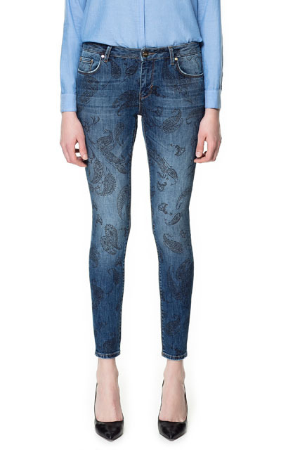 Printed Slim Fit Jeans - style: skinny leg; pattern: paisley; pocket detail: traditional 5 pocket; waist: mid/regular rise; predominant colour: denim; occasions: casual, evening; length: ankle length; fibres: cotton - stretch; jeans detail: whiskering, shading down centre of thigh, washed/faded; texture group: denim; pattern type: fabric; season: s/s 2013; pattern size: standard (bottom)