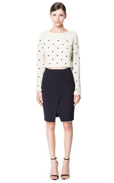 Pencil Skirt With Front Slit - pattern: plain; style: pencil; fit: tailored/fitted; waist: mid/regular rise; predominant colour: black; occasions: casual, evening, work; length: just above the knee; fibres: polyester/polyamide - stretch; texture group: cotton feel fabrics; pattern type: fabric; season: s/s 2013