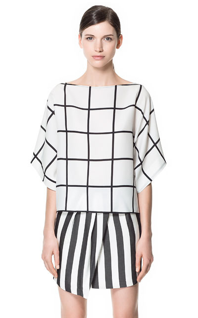 Checkered Blouse - neckline: slash/boat neckline; sleeve style: dolman/batwing; pattern: checked/gingham; style: blouse; predominant colour: ivory/cream; occasions: casual, evening, work; length: standard; fibres: polyester/polyamide - 100%; fit: straight cut; sleeve length: 3/4 length; texture group: sheer fabrics/chiffon/organza etc.; pattern type: fabric; pattern size: standard; season: s/s 2013