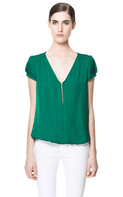 V Neck Top - neckline: low v-neck; sleeve style: capped; pattern: plain; style: blouson; predominant colour: emerald green; occasions: casual, evening, work; length: standard; fibres: polyester/polyamide - 100%; fit: loose; sleeve length: short sleeve; texture group: sheer fabrics/chiffon/organza etc.; pattern type: fabric; season: s/s 2013