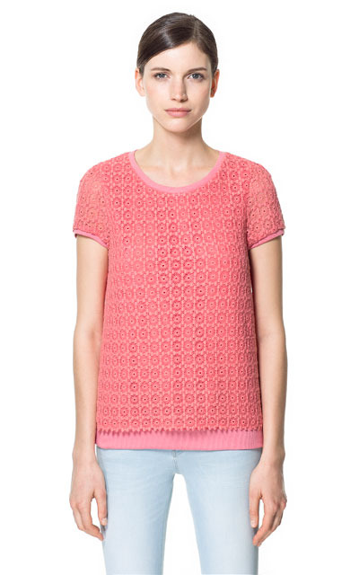Top - neckline: round neck; back detail: contrast pattern/fabric at back; predominant colour: coral; occasions: casual, evening, work; length: standard; style: top; fibres: cotton - mix; fit: straight cut; sleeve length: short sleeve; sleeve style: standard; pattern type: fabric; pattern size: light/subtle; pattern: florals; texture group: jersey - stretchy/drapey; season: s/s 2013
