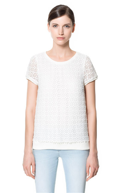 Top - neckline: round neck; back detail: contrast pattern/fabric at back; predominant colour: white; occasions: casual, evening, work; length: standard; style: top; fibres: cotton - 100%; fit: straight cut; sleeve length: short sleeve; sleeve style: standard; texture group: lace; pattern type: fabric; pattern size: standard; pattern: patterned/print; season: s/s 2013