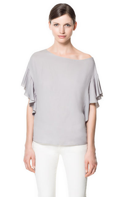 Blouse With Asymmetric Frill - neckline: round neck; sleeve style: angel/waterfall; pattern: plain; style: blouse; predominant colour: light grey; occasions: casual, evening, work; length: standard; fibres: polyester/polyamide - 100%; fit: loose; sleeve length: short sleeve; texture group: sheer fabrics/chiffon/organza etc.; pattern type: fabric; season: s/s 2013