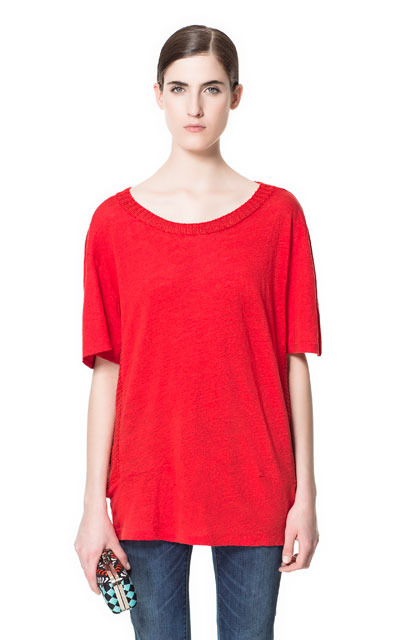 Sweater With Elbow Length Sleeves - neckline: scoop neck; sleeve style: dolman/batwing; pattern: plain; length: below the bottom; style: standard; predominant colour: true red; occasions: casual; fibres: linen - 100%; fit: loose; sleeve length: half sleeve; texture group: knits/crochet; pattern type: knitted - fine stitch; season: s/s 2013
