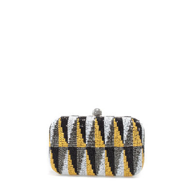 Geometric Beaded Evening Bag - predominant colour: black; occasions: evening, occasion; type of pattern: standard; style: clutch; length: hand carry; size: small; material: fabric; embellishment: beading; trends: statement prints, metallics, modern geometrics; finish: plain; pattern: patterned/print; season: s/s 2013