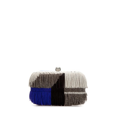 Beaded Evening Bag With Fringes - predominant colour: charcoal; occasions: evening, occasion; type of pattern: standard; style: clutch; length: hand carry; size: small; material: leather; embellishment: fringing; trends: modern geometrics; finish: plain; pattern: patterned/print; season: s/s 2013