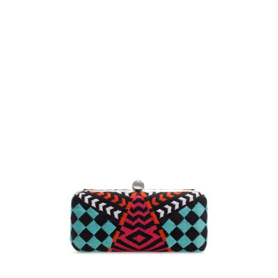 Ethnic Evening Bag - predominant colour: black; occasions: evening, occasion; type of pattern: heavy; style: clutch; length: hand carry; size: small; material: fabric; embellishment: embroidered; trends: statement prints, modern geometrics; finish: plain; pattern: patterned/print; season: s/s 2013