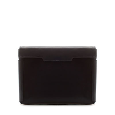 Leather Clutch - predominant colour: black; occasions: evening; type of pattern: standard; style: clutch; length: hand carry; size: small; material: leather; pattern: plain; finish: plain; season: s/s 2013