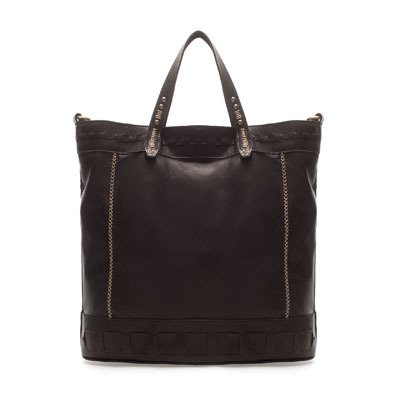 Ethnic Shopper - predominant colour: black; occasions: casual, work; type of pattern: light; style: tote; length: handle; size: oversized; material: leather; embellishment: studs; pattern: plain; finish: plain; season: s/s 2013