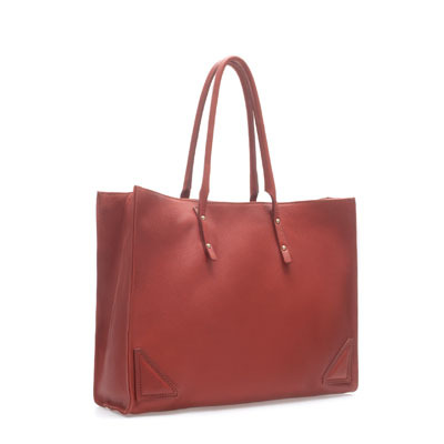 Leather Shopper With Metal Details - predominant colour: terracotta; occasions: casual, work; style: tote; length: handle; size: oversized; material: leather; embellishment: studs; pattern: plain; finish: plain; season: s/s 2013