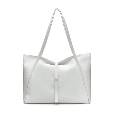 Large Leather Shopper - predominant colour: white; occasions: casual, creative work; type of pattern: standard; style: tote; length: shoulder (tucks under arm); size: oversized; material: leather; pattern: plain; finish: plain; season: s/s 2013