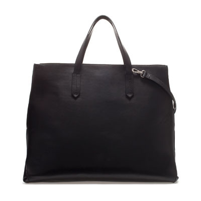 Shopper With Side Gusset - predominant colour: black; occasions: casual, creative work; type of pattern: standard; style: tote; length: handle; size: oversized; material: leather; pattern: plain; finish: plain; season: s/s 2013