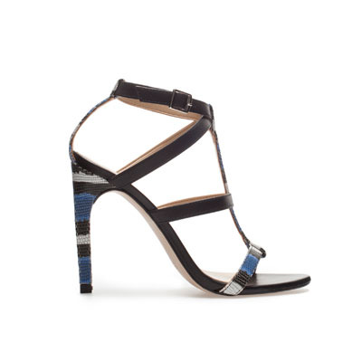 Combined Sandal - predominant colour: black; occasions: evening, occasion; material: leather; heel height: high; embellishment: buckles; ankle detail: ankle strap; heel: stiletto; toe: open toe/peeptoe; style: strappy; trends: modern geometrics; finish: plain; pattern: patterned/print; season: s/s 2013