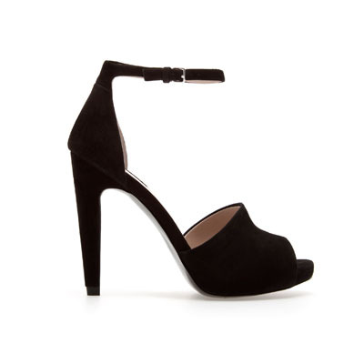 Vamp Sandal - predominant colour: black; occasions: evening, occasion; material: suede; heel height: high; embellishment: buckles; ankle detail: ankle strap; heel: stiletto; toe: open toe/peeptoe; style: standard; finish: plain; pattern: plain; shoe detail: platform; season: s/s 2013