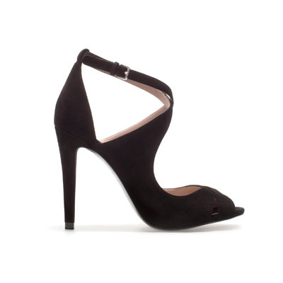 Strappy Sandals - predominant colour: black; occasions: evening, occasion; material: suede; heel height: high; embellishment: buckles; ankle detail: ankle strap; heel: stiletto; toe: open toe/peeptoe; style: strappy; finish: plain; pattern: plain; season: s/s 2013