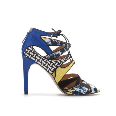 Multicolored Lace Up Sandal - predominant colour: royal blue; occasions: evening, occasion; material: leather; heel height: high; ankle detail: ankle tie; heel: stiletto; toe: open toe/peeptoe; style: strappy; finish: plain; pattern: patterned/print; season: s/s 2013