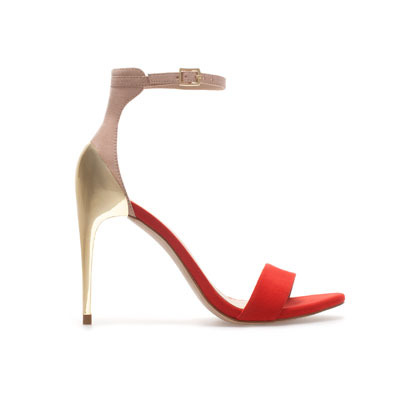 Combination High Heel Sandal - predominant colour: true red; occasions: evening, occasion; material: faux leather; heel height: high; ankle detail: ankle strap; heel: stiletto; toe: open toe/peeptoe; style: strappy; trends: metallics; finish: plain; pattern: colourblock; season: s/s 2013