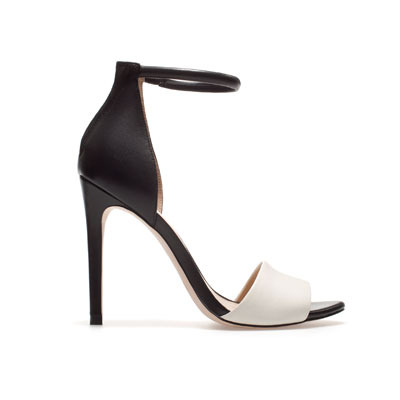 Basic Sandal - secondary colour: white; predominant colour: black; occasions: evening, occasion; material: leather; heel height: high; ankle detail: ankle strap; heel: stiletto; toe: open toe/peeptoe; style: standard; finish: plain; pattern: colourblock; season: s/s 2013