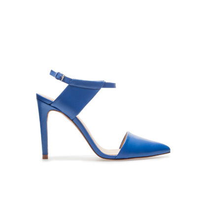 Pointed Vamp Shoe With Ankle Strap - predominant colour: royal blue; occasions: casual, evening, work, occasion; material: leather; heel height: high; ankle detail: ankle strap; heel: stiletto; toe: pointed toe; style: slingbacks; finish: plain; pattern: plain; season: s/s 2013