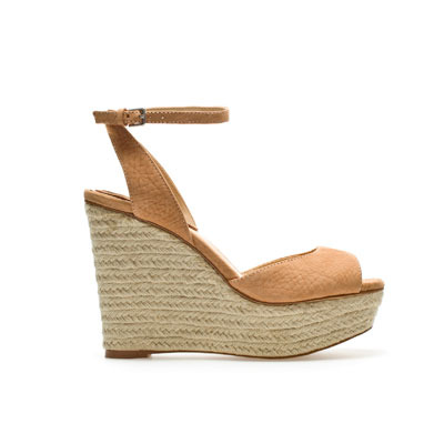 Wedge Espadrille - predominant colour: camel; occasions: casual, holiday; material: suede; heel height: high; embellishment: buckles; ankle detail: ankle strap; heel: wedge; toe: open toe/peeptoe; style: standard; finish: plain; pattern: plain; season: s/s 2013