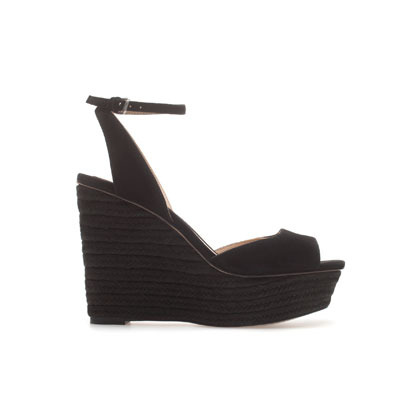Wedge Espadrille - predominant colour: black; occasions: casual, creative work; material: leather; heel height: high; embellishment: buckles; ankle detail: ankle strap; heel: wedge; toe: open toe/peeptoe; style: standard; finish: plain; pattern: plain; season: s/s 2013