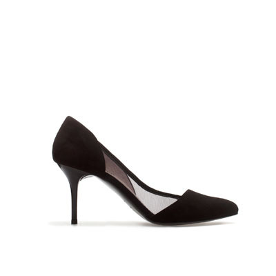 Mid Heel Court Shoes - predominant colour: black; occasions: evening, work, occasion; material: suede; heel height: high; heel: stiletto; toe: pointed toe; style: courts; finish: plain; pattern: plain; season: s/s 2013