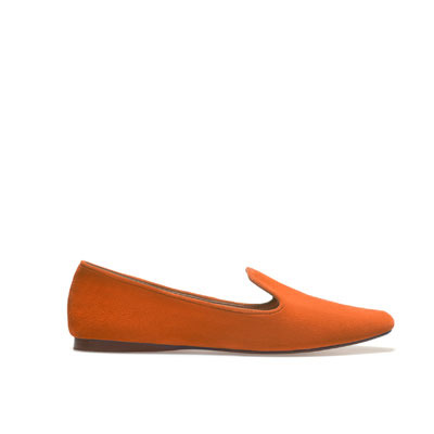 Soft Slipper With Edging - predominant colour: bright orange; occasions: casual, work; material: suede; heel height: flat; toe: round toe; style: loafers; finish: plain; pattern: plain; season: s/s 2013