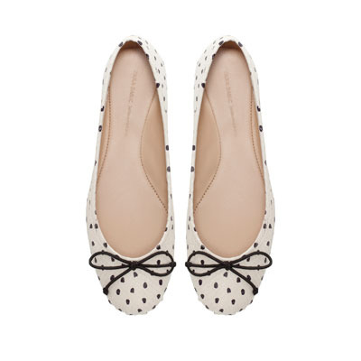 Polka Dot Ballerina Shoes - predominant colour: ivory/cream; occasions: casual, evening, work; material: leather; heel height: flat; toe: round toe; style: ballerinas / pumps; finish: plain; pattern: polka dot; embellishment: bow; season: s/s 2013