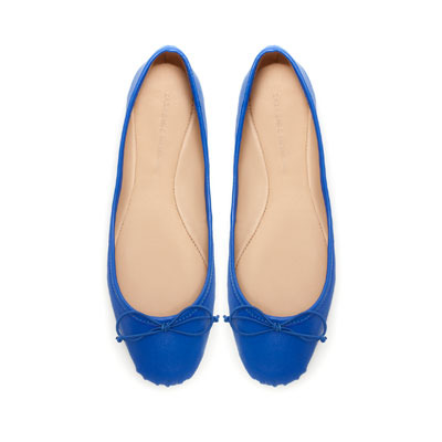 Ballerina - predominant colour: royal blue; occasions: casual, work; material: leather; heel height: flat; toe: round toe; style: ballerinas / pumps; finish: plain; pattern: plain; embellishment: bow; season: s/s 2013
