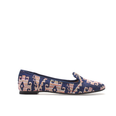 Fabric Slipper - predominant colour: navy; occasions: casual, work; material: fabric; heel height: flat; embellishment: embroidered; toe: round toe; style: loafers; trends: statement prints; finish: plain; pattern: patterned/print; season: s/s 2013