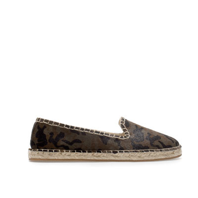 Leather Espadrille - predominant colour: dark green; occasions: casual, holiday; material: leather; heel height: flat; toe: round toe; style: ballerinas / pumps; finish: plain; pattern: patterned/print; season: s/s 2013