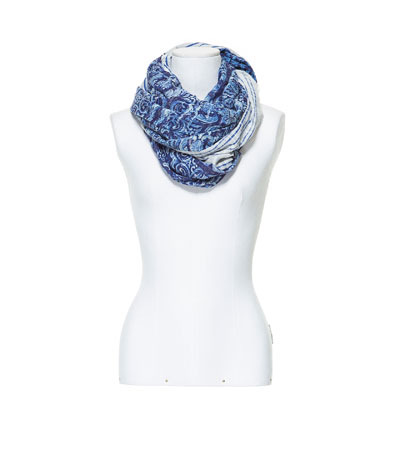 Blue Printed Scarf - predominant colour: royal blue; occasions: casual, work; type of pattern: heavy; style: regular; size: standard; material: fabric; pattern: patterned/print; season: s/s 2013