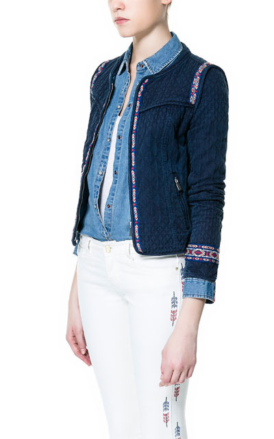 Jacquard Cardigan With Ethnic Patterned Trims - pattern: plain; neckline: collarless open; style: open front; predominant colour: navy; occasions: casual, work; length: standard; fibres: cotton - 100%; fit: standard fit; sleeve length: 3/4 length; sleeve style: standard; pattern type: fabric; texture group: other - bulky/heavy; embellishment: embroidered; season: s/s 2013; wardrobe: highlight; embellishment location: trim