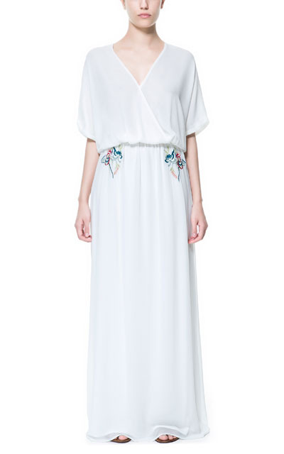 Long Crossover Dress With Embroidery - style: faux wrap/wrap; neckline: low v-neck; sleeve style: dolman/batwing; fit: fitted at waist; pattern: plain; waist detail: elasticated waist; bust detail: subtle bust detail; predominant colour: white; occasions: casual, evening, occasion, holiday; length: floor length; fibres: polyester/polyamide - 100%; hip detail: subtle/flattering hip detail; sleeve length: short sleeve; texture group: sheer fabrics/chiffon/organza etc.; pattern type: fabric; embellishment: beading; season: s/s 2013; wardrobe: highlight; embellishment location: waist