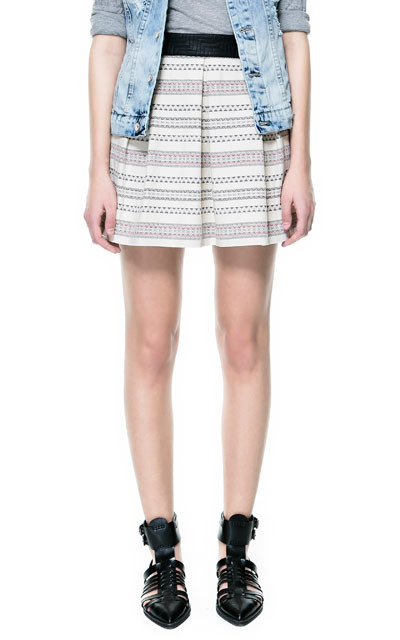 Jacquard Pleated Skirt With Waistband - length: mid thigh; fit: body skimming; style: pleated; waist detail: elasticated waist; waist: mid/regular rise; predominant colour: light grey; occasions: casual, holiday; fibres: cotton - 100%; hip detail: soft pleats at hip/draping at hip/flared at hip; texture group: cotton feel fabrics; pattern type: fabric; season: s/s 2013; pattern size: light/subtle (bottom); pattern: horizontal stripes (bottom)