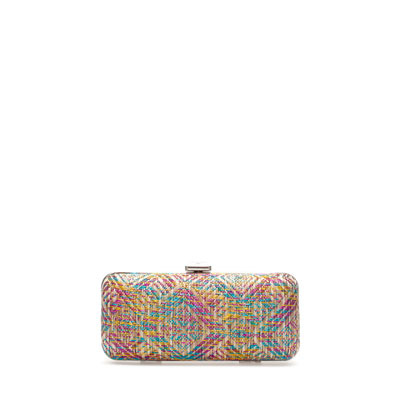 Raffia Box Clutch - occasions: evening, occasion; predominant colour: multicoloured; type of pattern: heavy; style: clutch; length: hand carry; size: small; material: macrame/raffia/straw; finish: plain; pattern: patterned/print; season: s/s 2013; multicoloured: multicoloured
