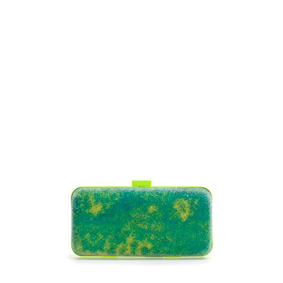 Caviar Box Clutch - predominant colour: lime; occasions: evening, occasion; type of pattern: standard; style: clutch; length: hand carry; size: small; material: fabric; trends: fluorescent; finish: plain; pattern: patterned/print; season: s/s 2013