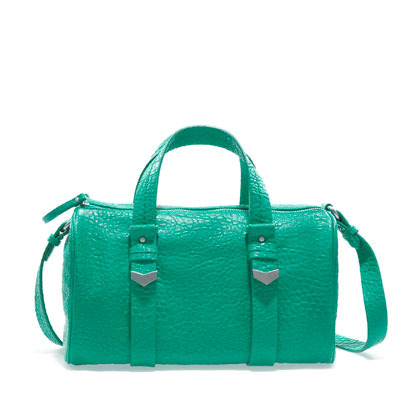 Double Zip Bowling Bag - predominant colour: emerald green; occasions: casual, work; type of pattern: light; style: bowling; length: handle; size: standard; material: faux leather; pattern: plain; finish: plain; embellishment: chain/metal; season: s/s 2013
