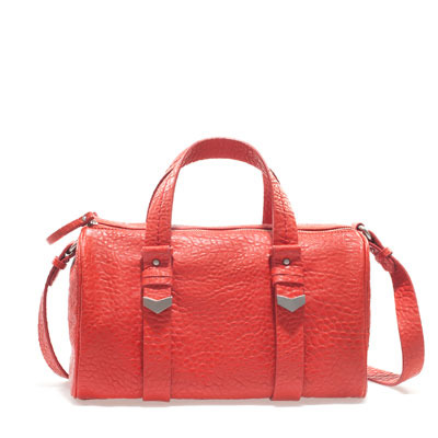 Double Zip Bowling Bag - predominant colour: coral; occasions: casual, work; type of pattern: light; style: bowling; length: handle; size: standard; material: faux leather; pattern: plain; finish: plain; embellishment: chain/metal; season: s/s 2013