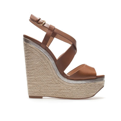Wedge Espadrille - predominant colour: tan; occasions: casual, holiday; material: faux leather; heel height: high; ankle detail: ankle strap; heel: wedge; toe: open toe/peeptoe; style: strappy; finish: plain; pattern: plain; season: s/s 2013