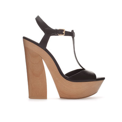 Wooden T Bar - predominant colour: black; occasions: casual, creative work; material: leather; heel height: high; embellishment: buckles; ankle detail: ankle strap; heel: block; toe: open toe/peeptoe; style: standard; finish: plain; pattern: plain; shoe detail: platform; season: s/s 2013