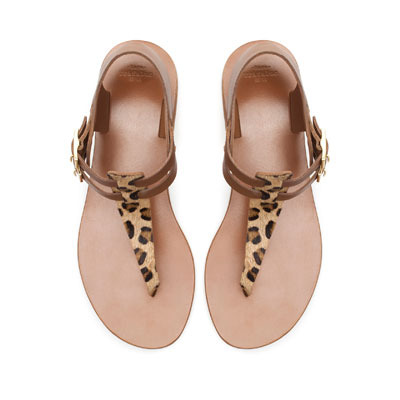Sandal With Buckle - predominant colour: tan; occasions: casual, holiday; material: leather; heel height: flat; embellishment: buckles; ankle detail: ankle strap; heel: standard; toe: toe thongs; style: standard; finish: plain; pattern: animal print; season: s/s 2013; wardrobe: highlight