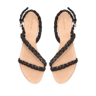Plaited Vamp - predominant colour: black; occasions: casual, holiday; material: faux leather; heel height: flat; embellishment: buckles; ankle detail: ankle strap; heel: standard; toe: open toe/peeptoe; style: strappy; finish: plain; pattern: plain; season: s/s 2013