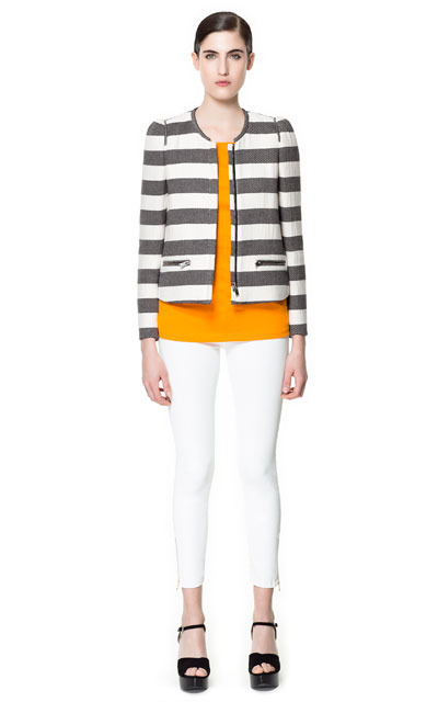 Striped Jacket - pattern: horizontal stripes; collar: round collar/collarless; style: boxy; predominant colour: navy; occasions: casual, evening, work, occasion, holiday; length: standard; fit: straight cut (boxy); fibres: cotton - 100%; sleeve length: long sleeve; sleeve style: standard; trends: striking stripes; collar break: high; pattern type: fabric; pattern size: standard; texture group: woven light midweight; season: s/s 2013