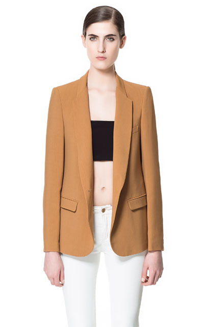 Blazer With Rounded Lapel - pattern: plain; style: single breasted blazer; length: below the bottom; collar: standard lapel/rever collar; predominant colour: tan; occasions: casual, work; fit: tailored/fitted; fibres: polyester/polyamide - 100%; sleeve length: long sleeve; sleeve style: standard; texture group: cotton feel fabrics; collar break: low/open; pattern type: fabric; season: s/s 2013