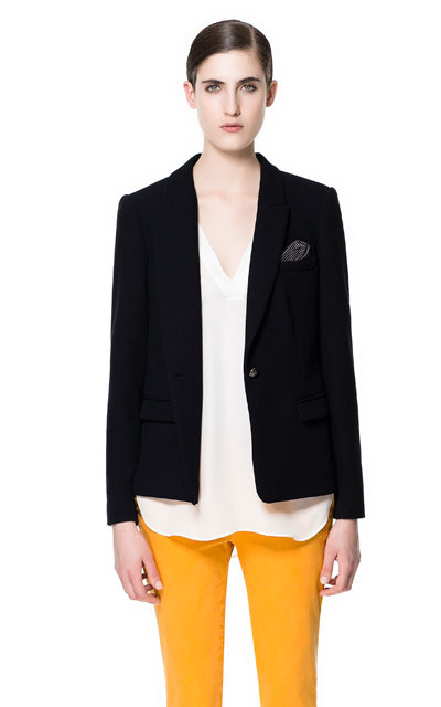 Blazer With Combination Elbow Patches - pattern: plain; style: single breasted blazer; collar: standard lapel/rever collar; predominant colour: black; occasions: casual, evening, work; length: standard; fit: tailored/fitted; fibres: polyester/polyamide - stretch; sleeve length: long sleeve; sleeve style: standard; texture group: crepes; collar break: low/open; pattern type: fabric; season: s/s 2013