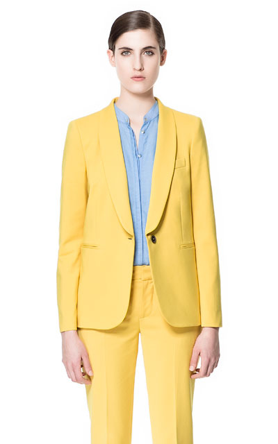 Wing Collared Blazer - pattern: plain; style: single breasted blazer; collar: shawl/waterfall; predominant colour: yellow; occasions: casual, evening, work, occasion; length: standard; fit: straight cut (boxy); fibres: cotton - mix; sleeve length: long sleeve; sleeve style: standard; texture group: cotton feel fabrics; collar break: low/open; pattern type: fabric; season: s/s 2013